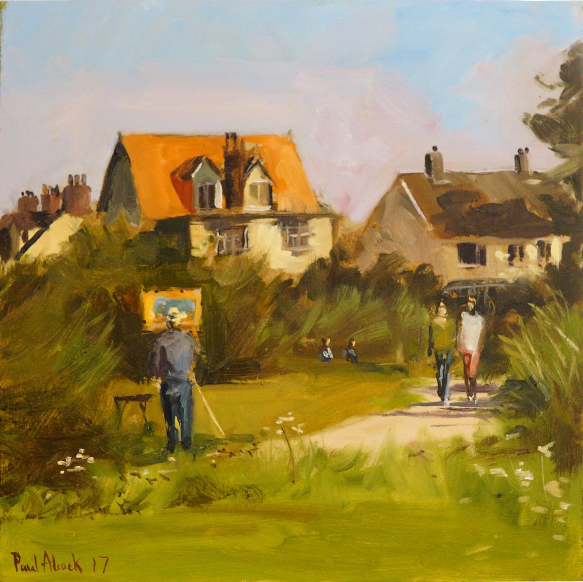 DSC00056 Artist Paul Alcock, 'Looking Back', Mousehold Heath, Oil, 12x12in, £225. Photo © Katy Jon Went