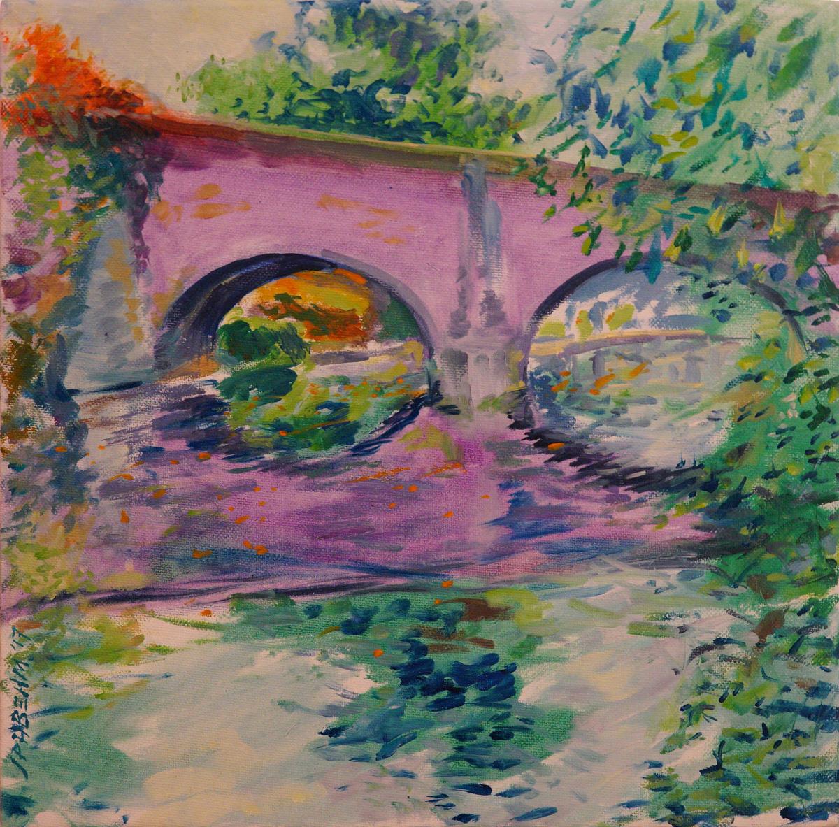Artist John Behm, 'Sun-Hazed October Morn in Violet', Bishop Bridge, Oil, 12x12in, £320. Photo © Katy Jon Went