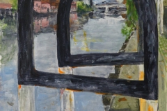 Artist Virginia Bain, 'Safety Railings onto the Wensum', Riverside, Norwich, Acrylic, 42x26cm, £100. Photo © Katy Jon Went