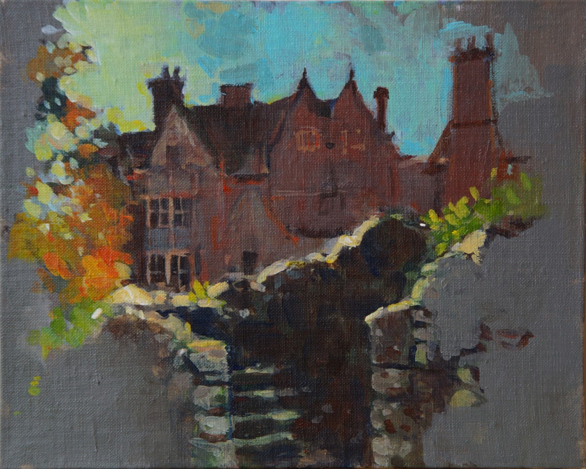 Artist Alex Atkinson, 'Rising from the Ruins', Colman's Factory, Acrylic, 26x20cm, £200. Paint Out Norwich 2018