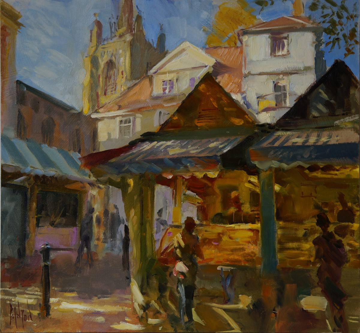Artist Rob Pointon, 'Diagonal Light on the Seafood Stalls', Norwich Market, Oil, 40x40cm, £650. Paint Out Norwich 2018