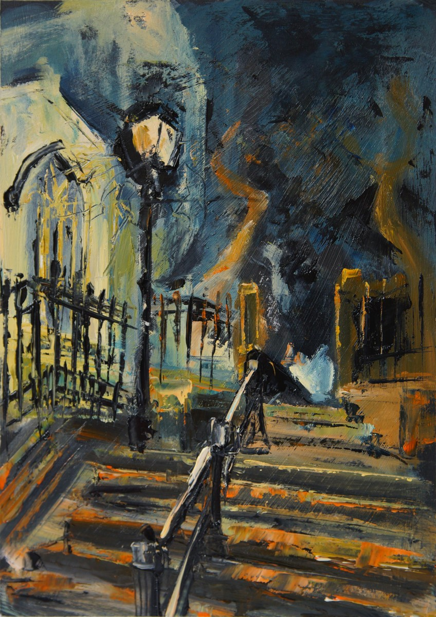 Susan Isaac, 'Up The Steps (St Peter Mancroft)', Off Norwich Market, Oil, 30x40cm, <a href='http://www.paintout.org/artists/susan-isaac#buy' target='_blank'>FOR SALE</a>, £400