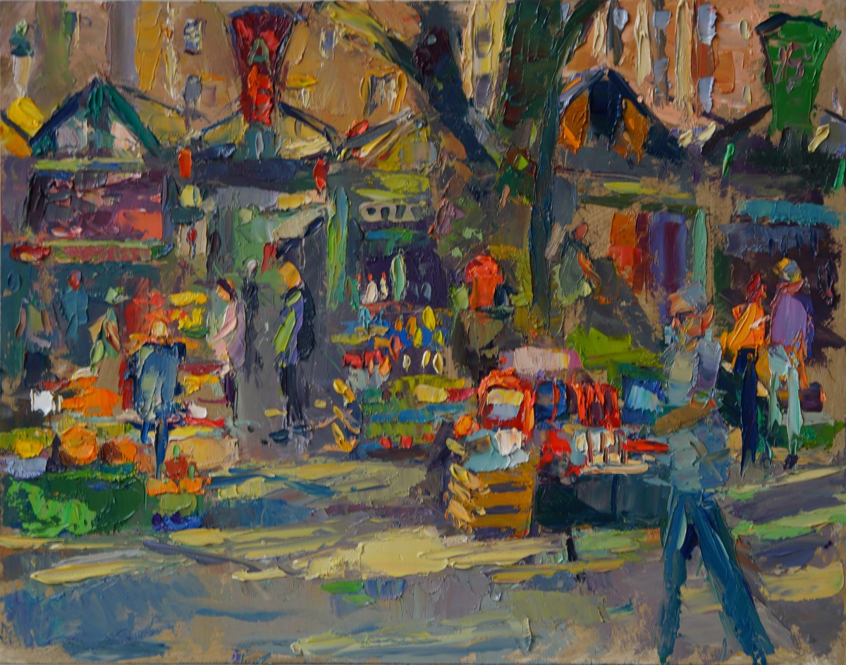 Andrew Farmer, 'The Market, Morning Light', Norwich Market, Oil, 50x40cm, <a href='http://www.paintout.org/artists/andrew-farmer#buy' target='_blank'>FOR SALE</a>, £695