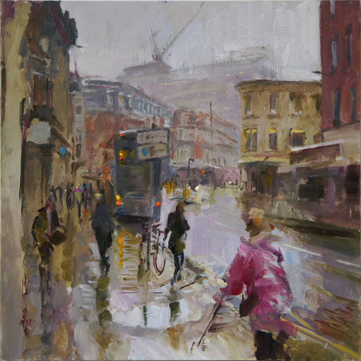 Artist Rob Pointon, 'Changing Skyline', Westlegate, Oil, 40x40cm, SOLD. Paint Out Norwich 2018 1st Prize Winner