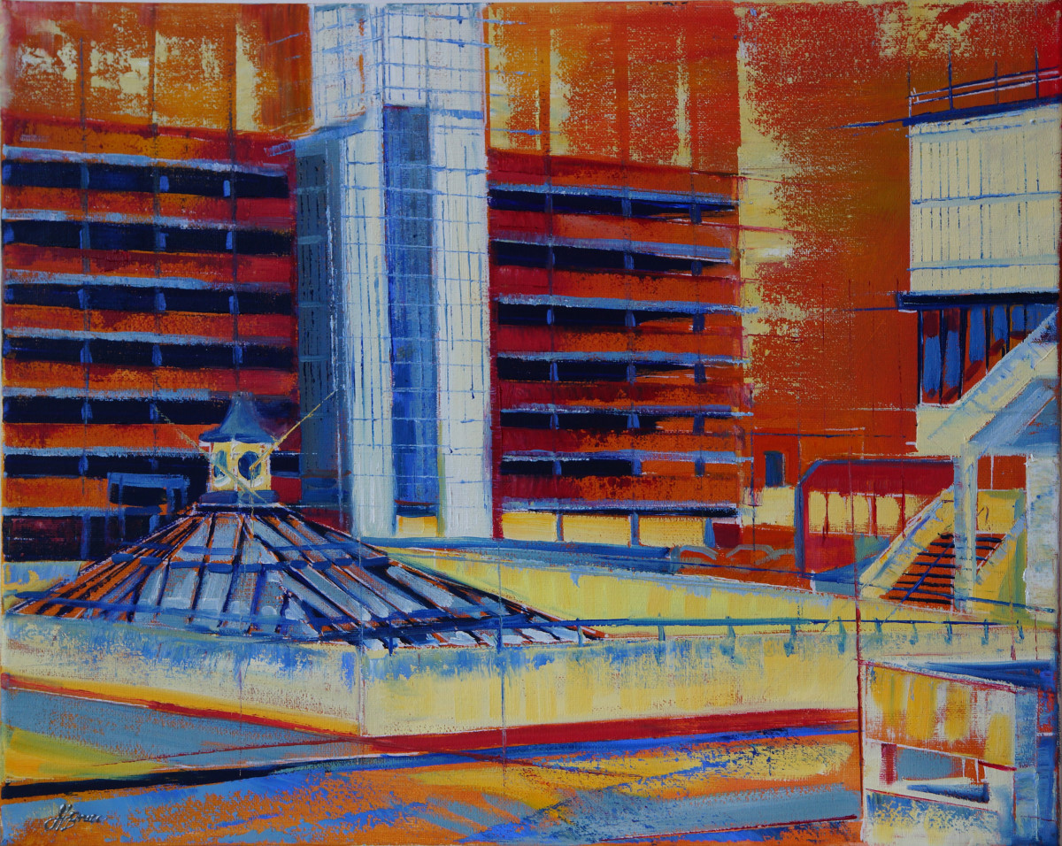 Artist Hannah Bruce, 'Cult 1960s', Anglia Square, Oil, 50x40cm, SOLD. Paint Out Norwich 2018