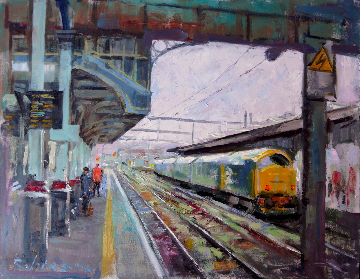 Tony Robinson, 'No. 31 Diesel', Norwich Station, Oil, 14x18in, <a href='http://www.paintout.org/artists/tony-robinson#buy' target='_blank'>FOR SALE</a>, £495