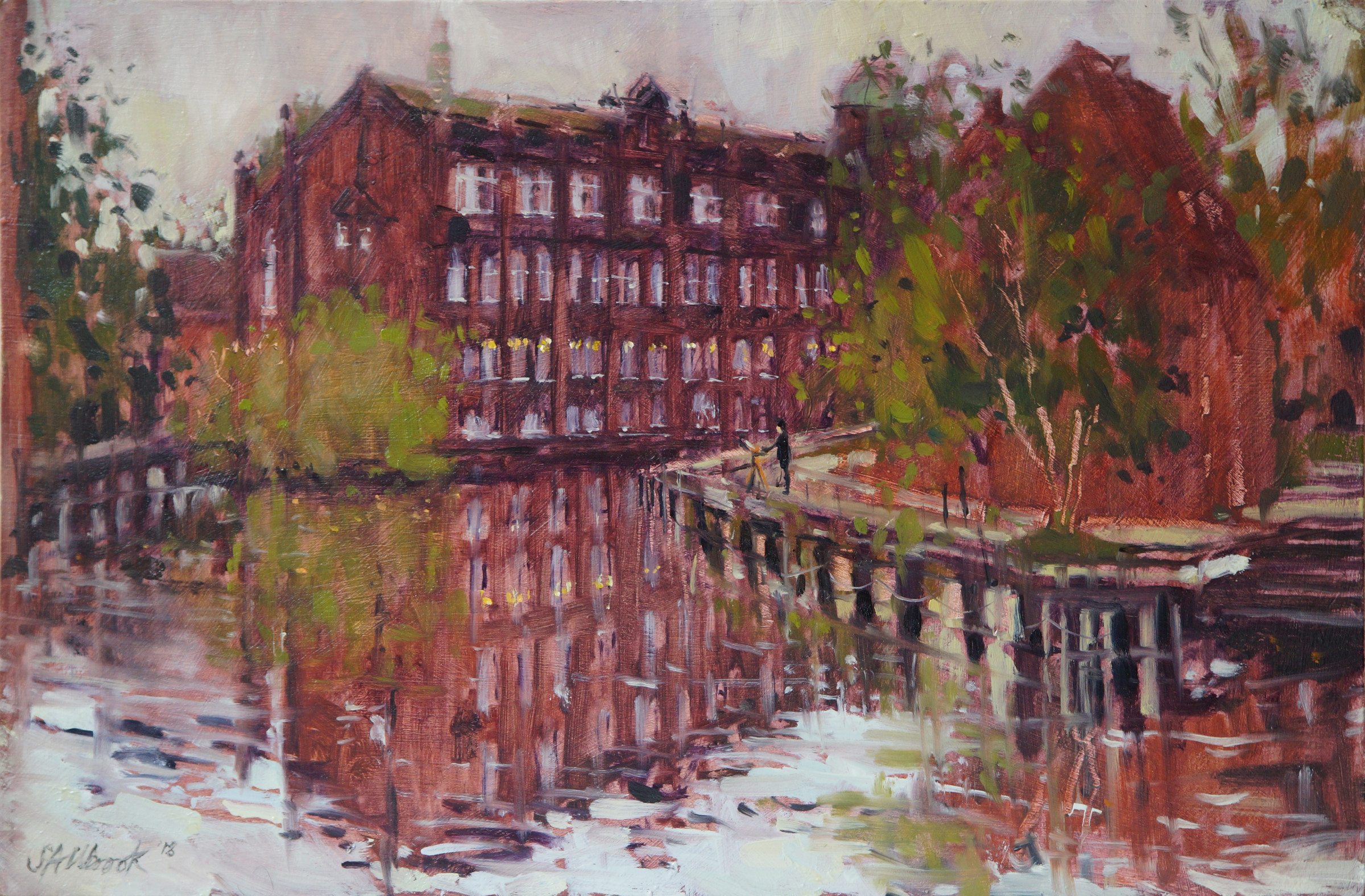 Sarah Allbrook, 'Art School Reflections', Fye Bridge, Oil, 12x18in, SOLD