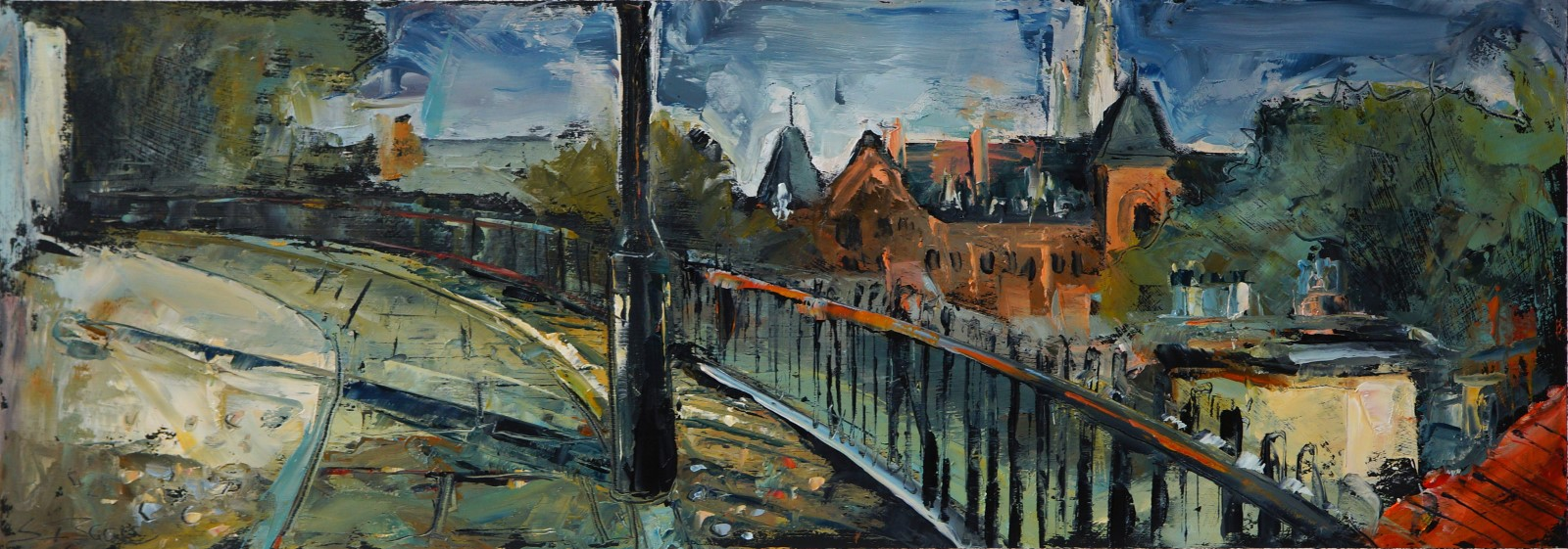 Susan Isaac, 'Looking Toward 'The Royal'', Norwich Castle, Oil, 35x65cm, <a href='http://www.paintout.org/artists/susan-isaac#buy' target='_blank'>FOR SALE</a>, £600