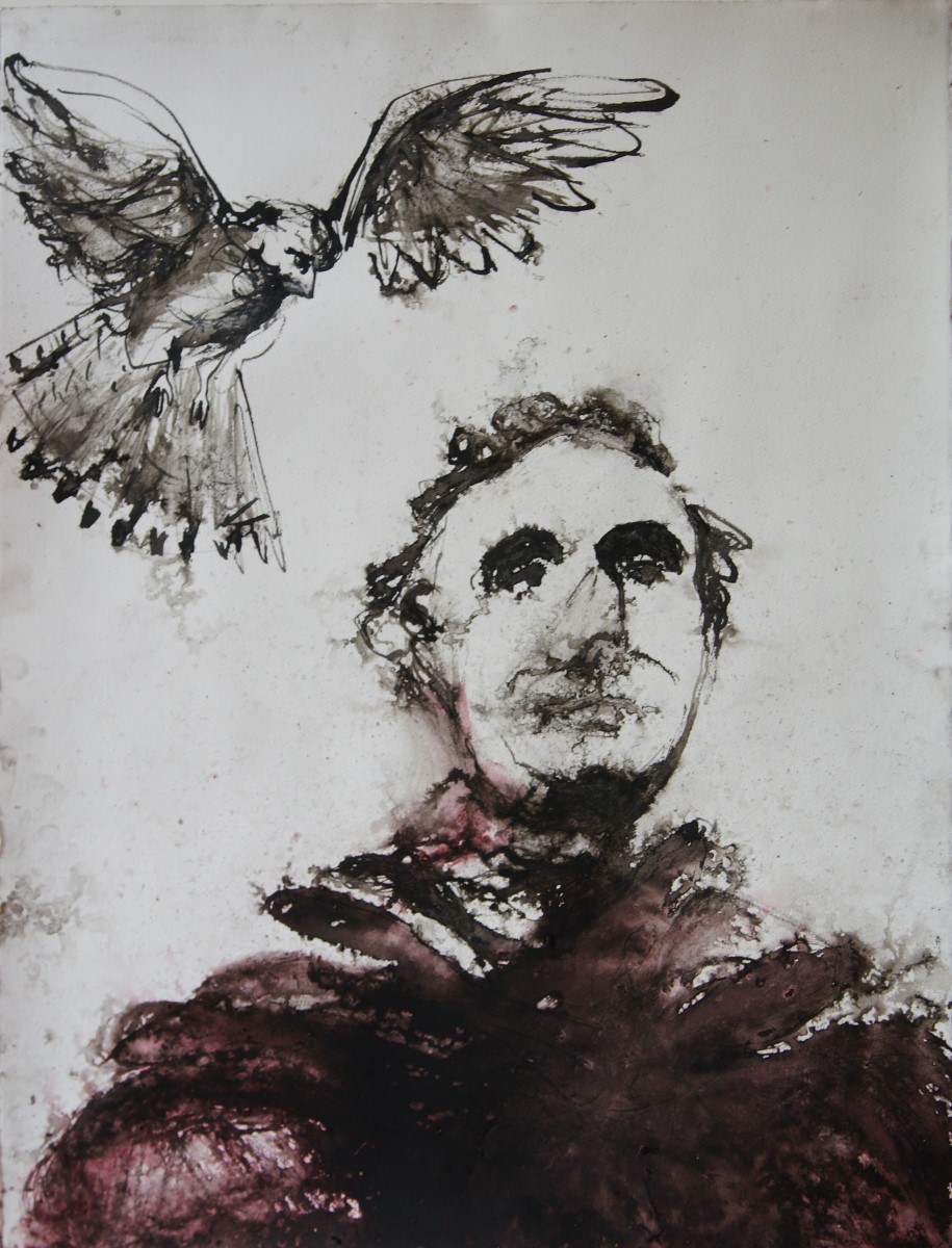 Artist Frances Martin, 'Peregrine Falcon Circling Wellington - with His Beak', Cathedral Close, Indian and burnt sienna inks (and rain), 75x55cm, £300. Paint Out Norwich 2018
