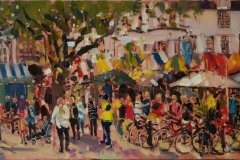 Sarah Allbrook, 'Saturday Morning, Norwich', Norwich Market, Oil, 12x24in, SOLD