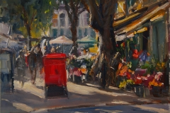 Artist Roger Dellar, 'Light Coming Through the Market', Norwich Market, Oil, 12x12in, £500. Paint Out Norwich 2018