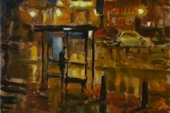 Rob Pointon, 'Waiting for the Night Bus', Tombland, Oil, 40x40cm, <a href='http://www.paintout.org/artists/rob-pointon#buy' target='_blank'>FOR SALE</a>, £650