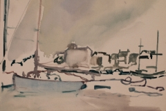 Artist Tom Lamprell - Harbor, £2000 36 X 36 Oil on Canvas at Paint Out Wells 2015